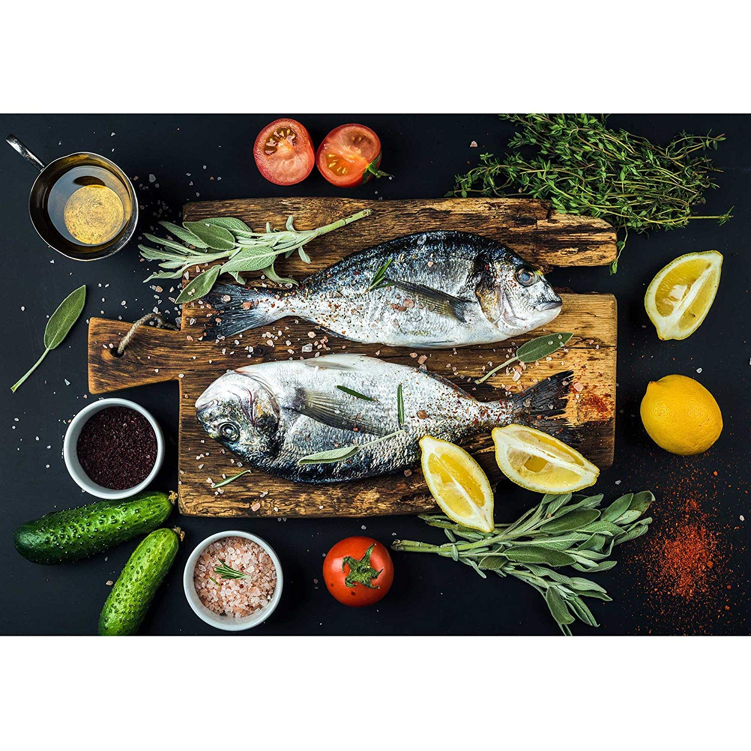 LanimioLOX Fresh Uncooked Dorado or Sea Bream Fish with Lemon, Herbs, Oil, Vegetables and Spices - Removable Wall Mural | Self-Adhesive Large Wallpaper