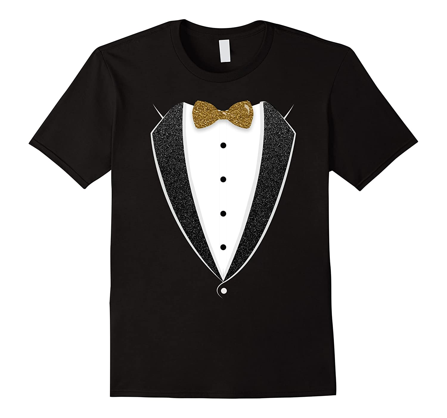 Black And White Tuxedo With Bow tie Funny Novelty T Shirt-PL