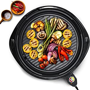 "Maxi-Matic Large Indoor Electric Nonstick Grilling Surface, Faster Heat Up, Ideal Low-Fat Meals, Easy To Clean Design, Includes Glass Lid, 14"" Round B"