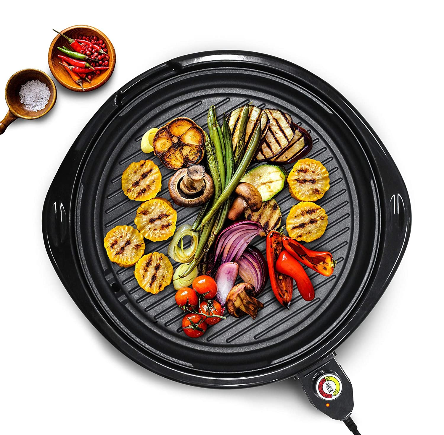 Easy To Clean Design Includes Glass Lid Ideal Low-Fat Meals Maxi-Matic EMG-980BSC Large Indoor Electric Nonstick Grilling Surface 14 Round B Faster Heat Up
