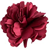 Broche Barrette à Fleur de Pivoine pour Filles Femmes (Bordeaux)