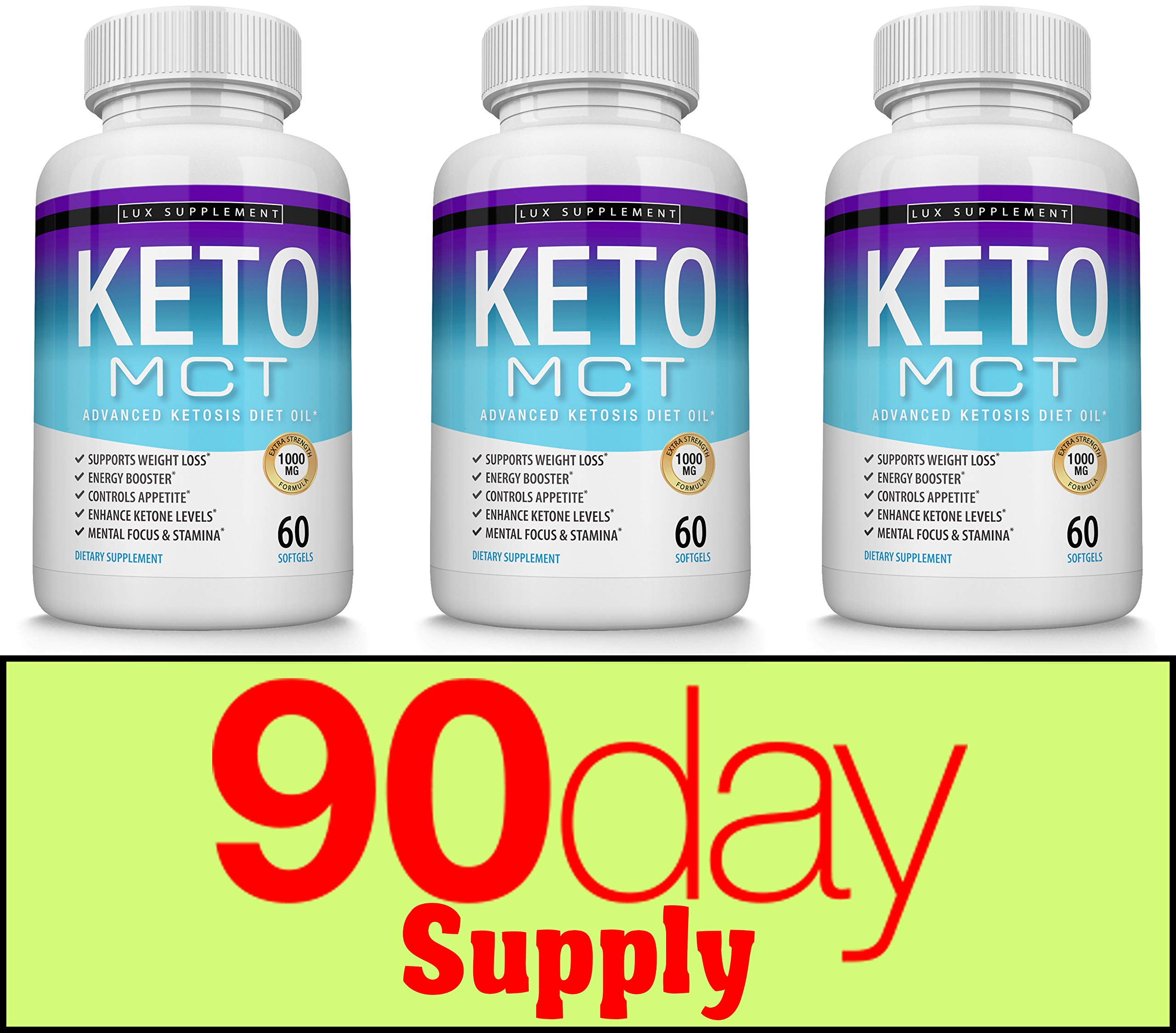 Keto Mct Oil Softgels Advanced Ketosis Diet - 1000 Mg Natural Pure Coconut Oil Extract Pills for Ketogenic & Ketone Diet, Easy to Digest Fuel for Energy & Brain, Men Women, 60 Softgels, Lux Supplement