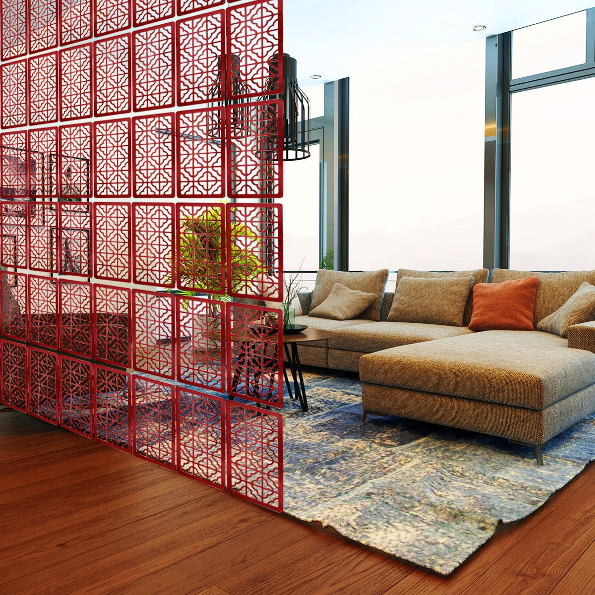 Lchen Hanging Wood Room Divider Environmentally Safety Panel Screen (4, Redwood03) LC-Trading Ltd.