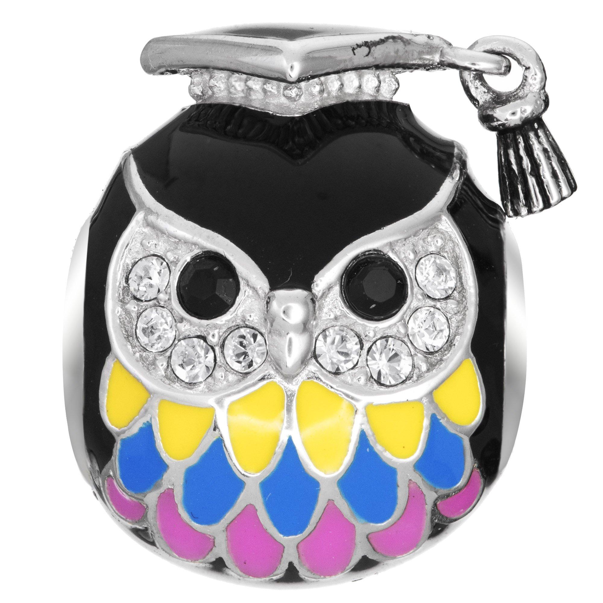 Qina C Rhodium On 925 Sterling Silver Owl Graduation Cap Teacher European Style Bead Charm Made with Swarovski Crystals