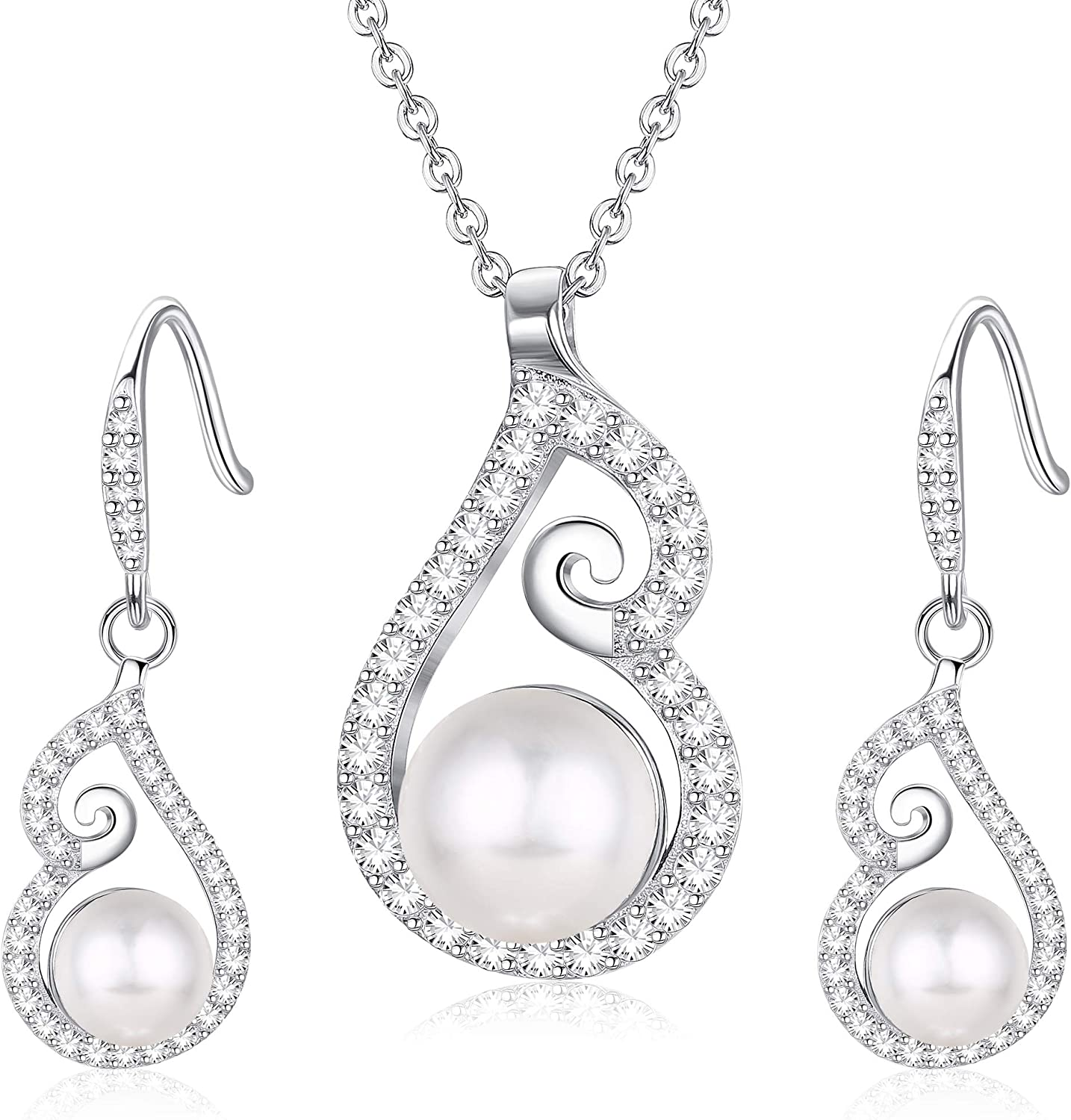 Milacolato Sterling Silver Ivory Pearl Wedding Necklace and Earrings Crystal Bridal Jewelry Set for Brides and Bridesmaids