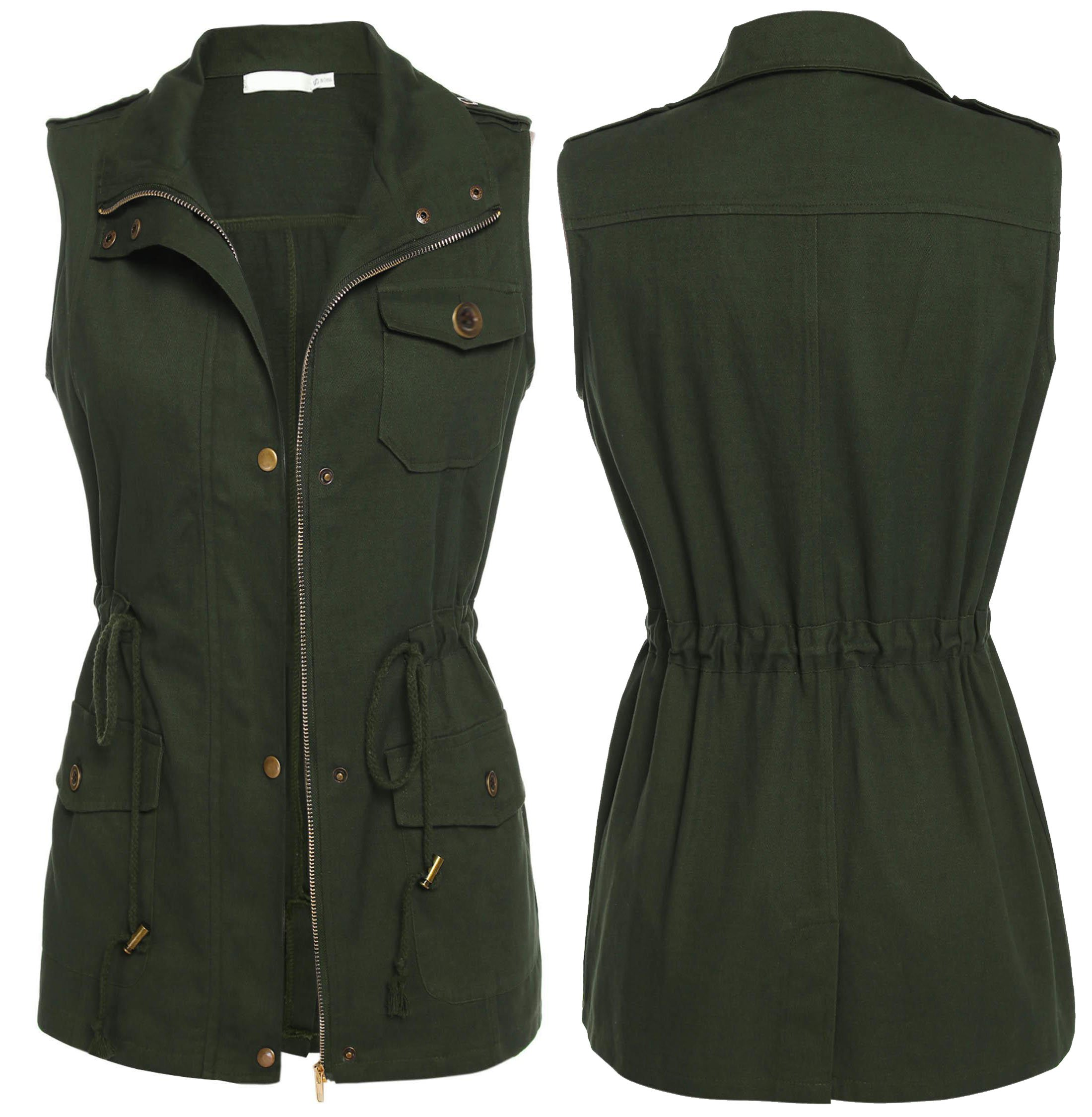 Dickin Women's Zip Up Drawstring Anorak Jacket Military Vest with Pockets (Army Green XL)