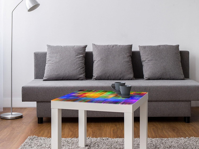 Colore: Arcobaleno DekoGlas Ikea Lack con Piano in Vetro Tavolino in Vetro