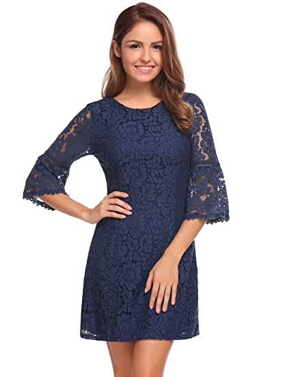 89802400c05 evokem Women s Casual 3 4 Flare Sleeve Homecoming Party Floral Lace A-Line  Dresses