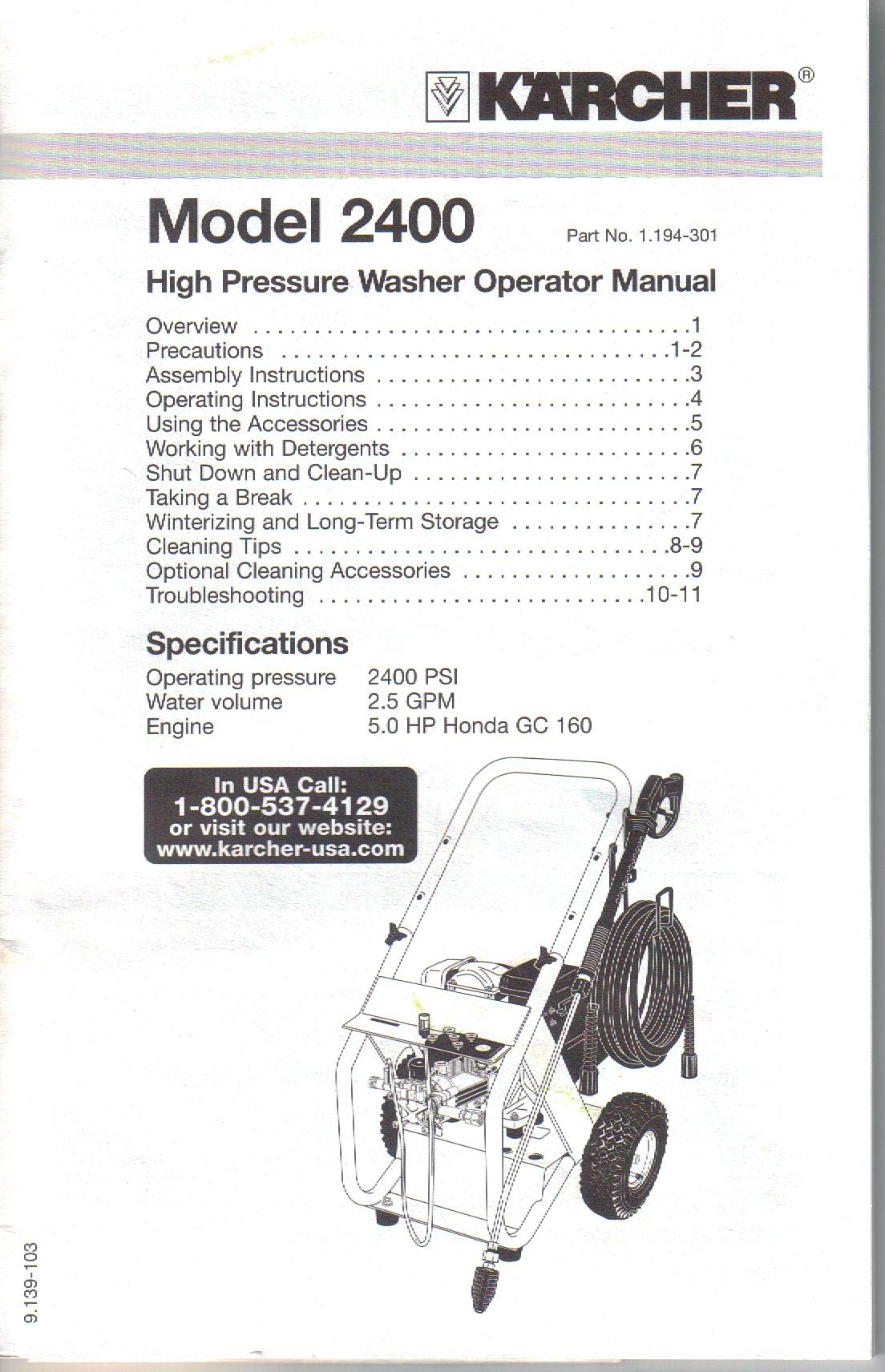 KARCHER Model 2400 High Pressure Washer Operator Manual Owner's Guide:  Kärcher: Amazon.com: Books
