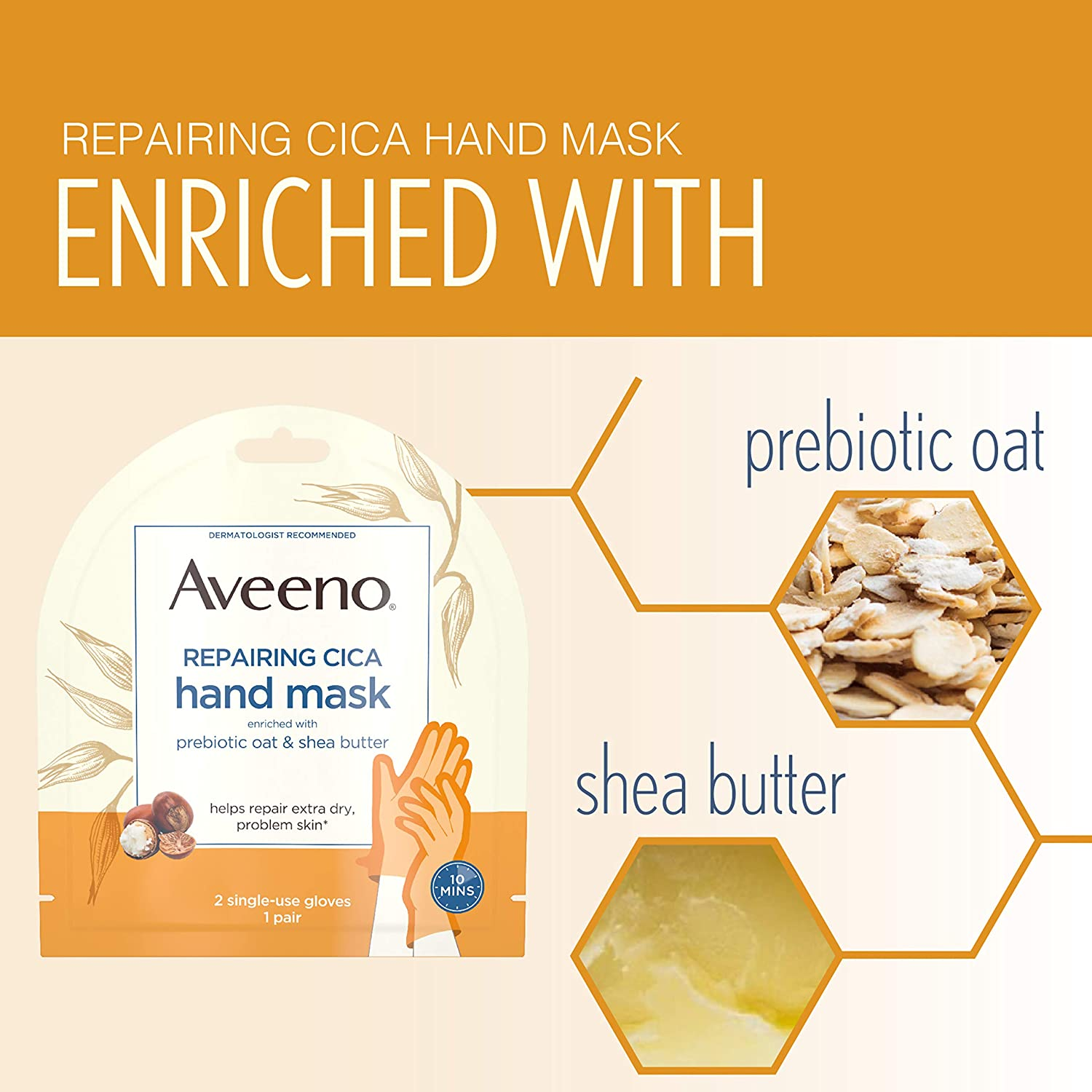Aveeno Repairing CICA Hand Mask with Prebiotic Oat and Shea Butter for Extra Dry Skin, Paraben-Free and Fragrance-Free, 1 Pair of Single-Use Gloves : Beauty