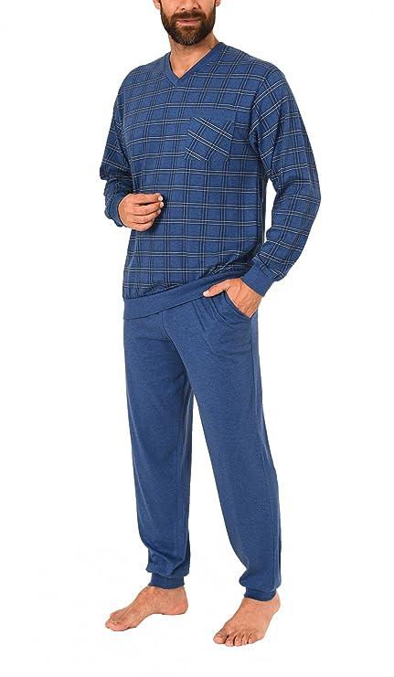 6d29d657de Eleganter Herren Pyjama Schlafanzug mit Bündchen - auch in Übergrössen -  271 101 90 453: Amazon.de: Bekleidung