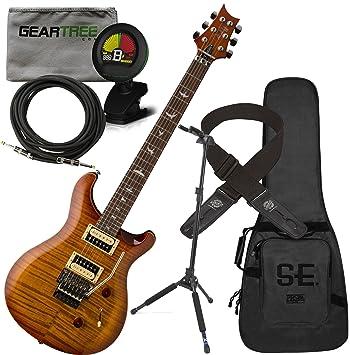 PRS SE Custom 24 Floyd guitarra eléctrica Vintage Sunburst w/funda, gamuza, soporte, sintonizador de bloqueo, cable, y Lock-It correa: Amazon.es: ...