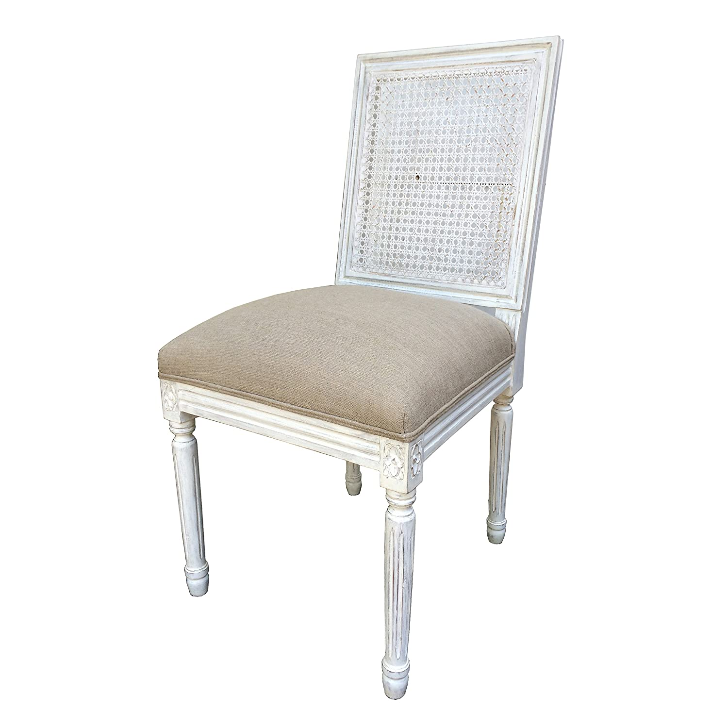 Miraculous French Style Cane Back Dining Chair In White Distressed Caraccident5 Cool Chair Designs And Ideas Caraccident5Info