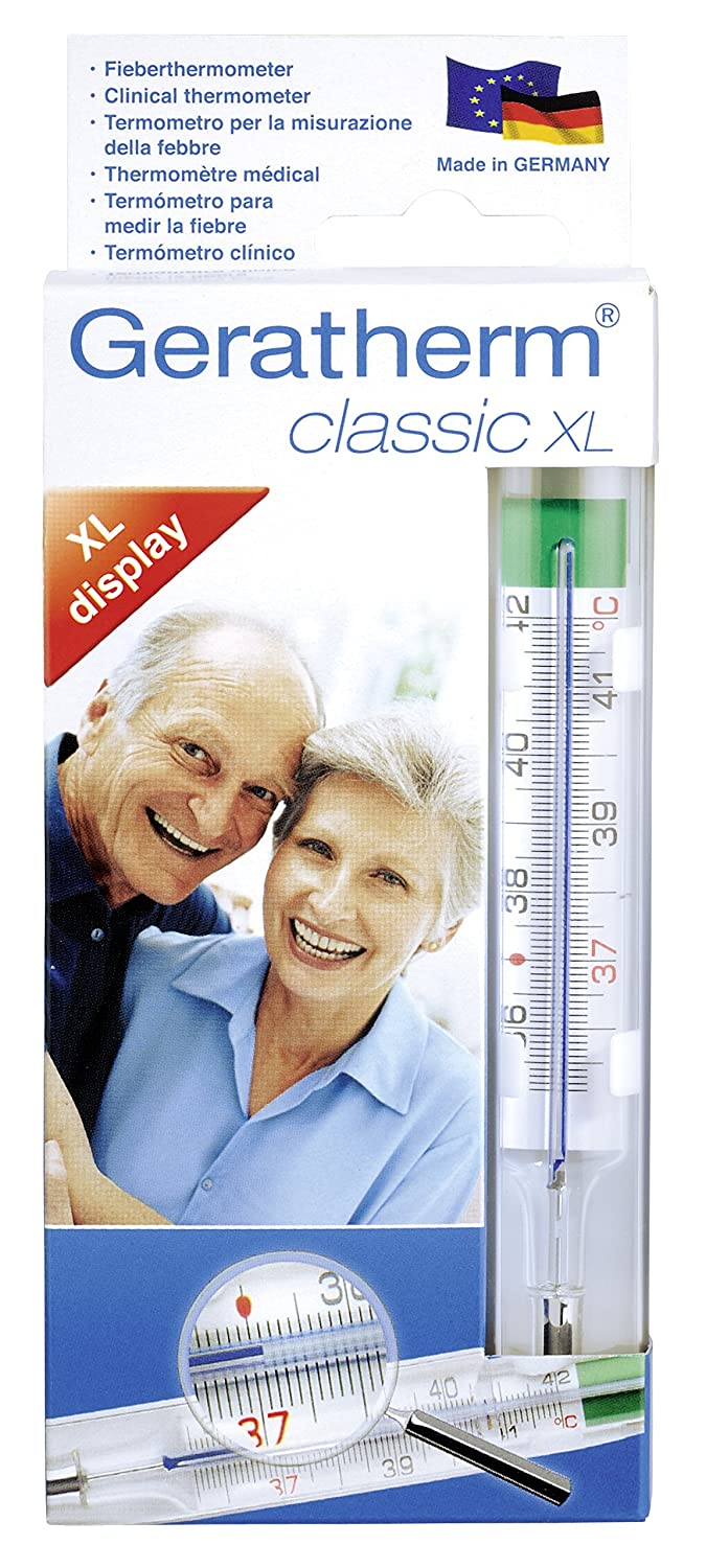 Amazon.com: Analogue thermometer, Geratherm Classic XL. Easy to read measuring results thanks to magnifying case!: Health & Personal Care
