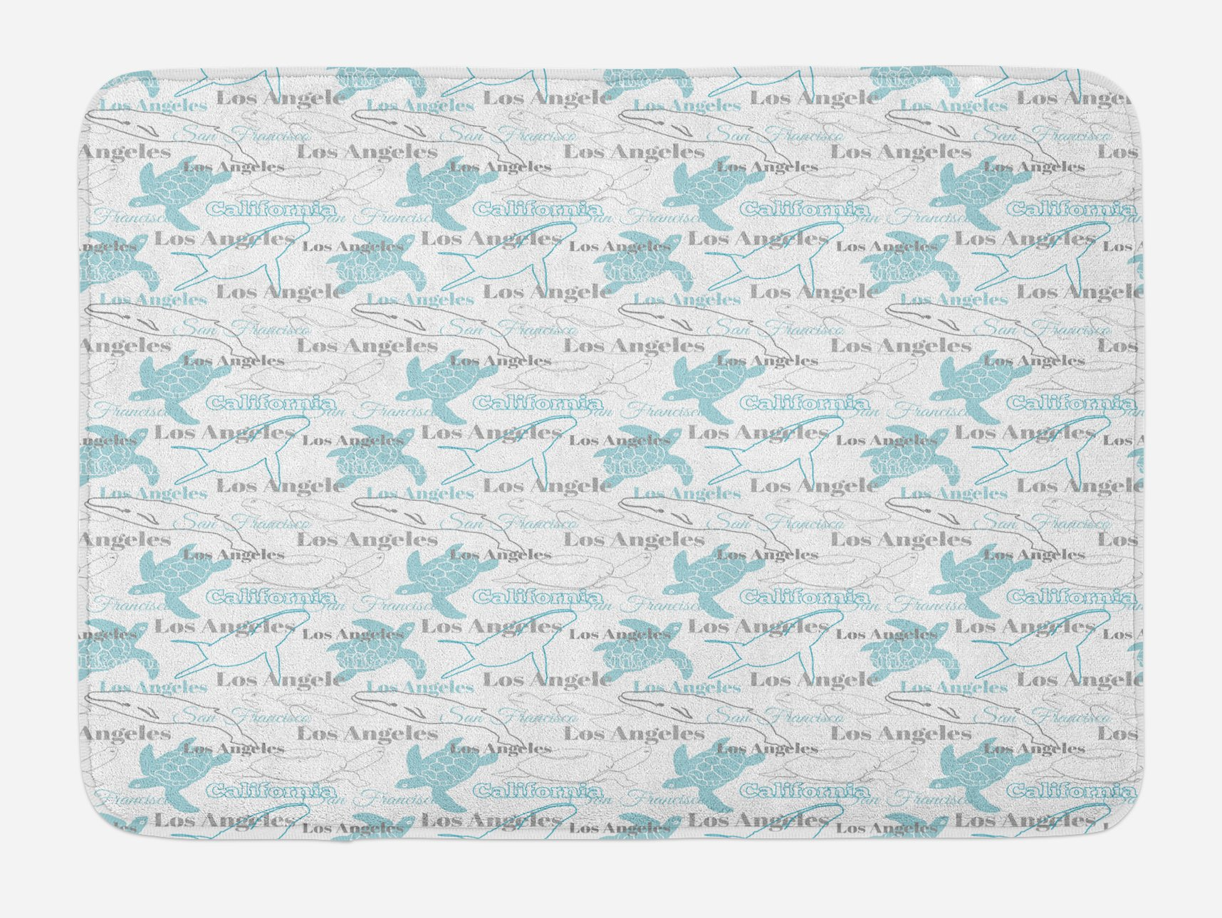 Lunarable Animal Bath Mat, USA Theme Animals of California America Repeating Background Pattern, Plush Bathroom Decor Mat with Non Slip Backing, 29.5 W X 17.5 W Inches, Gray White and Turquoise