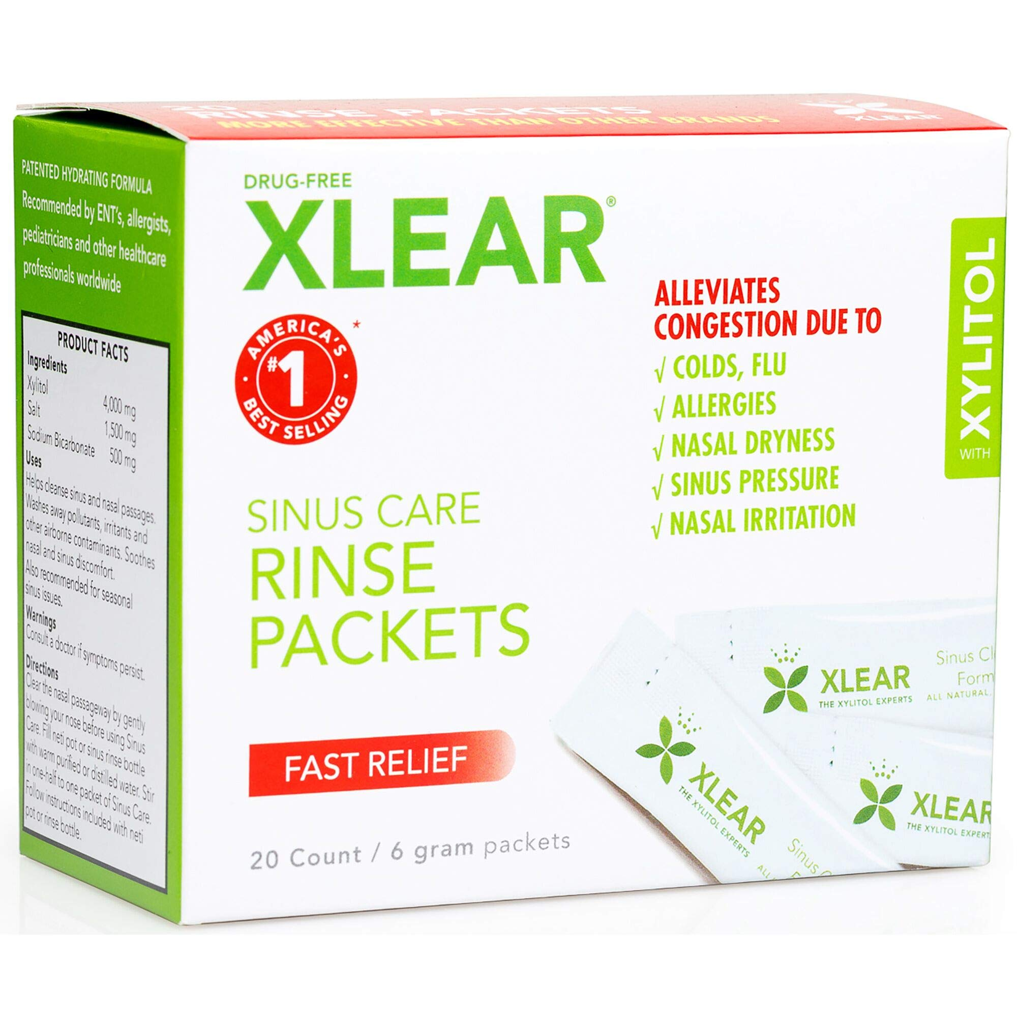 Xlear Natural Neti Pot Sinus Rinse Refill Packets, 20 Packets (2 Pack) by Xlear