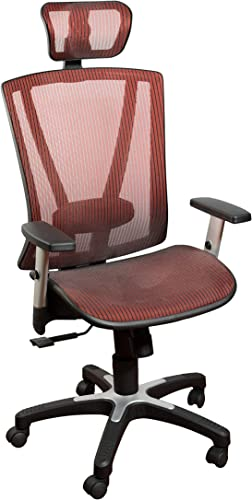 ErgoMax Fully Meshed Ergonomic Height w Armrests Headrest Adjustable Office Chair, 52 Inch Max, Red