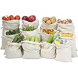 Beddify 100% Cotton Set of 12 Reusable Fridge Storage Bags for Vegetables and Fruits Premium Quality Mulipurpose Bag (4 Small, 4 Medium & 4 Large Size Bag)