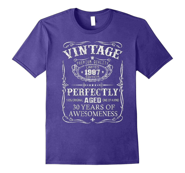 Vintage Born in 1987 30 Years Old Birthday T-Shirt-FL