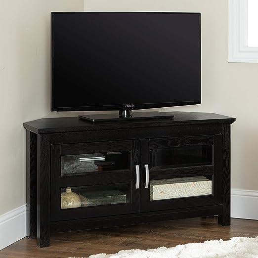 WE Furniture 2 Door Cabinet Corner Wood Stand for TV\'s up to 48\