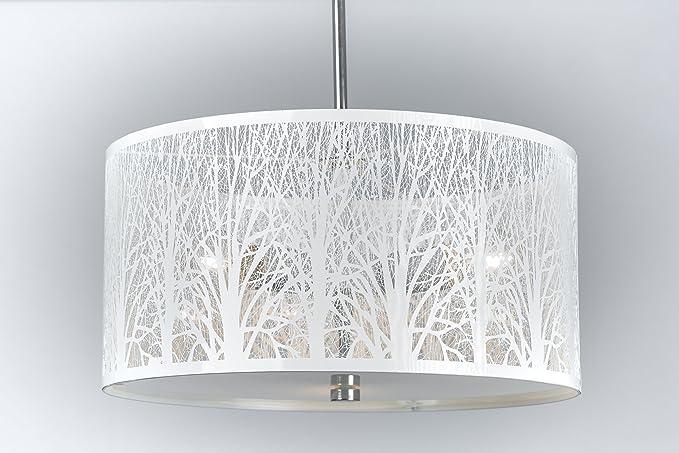 Lustre Avec Lampe Blanc 40 Luminaire Salon Cm Ø Suspension Foret xECBQrWdoe