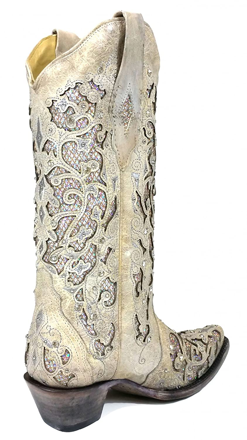 Amazon.com | CORRAL A3322 White Leather Glitter Inlay Boot With Crystals |  Mid-Calf