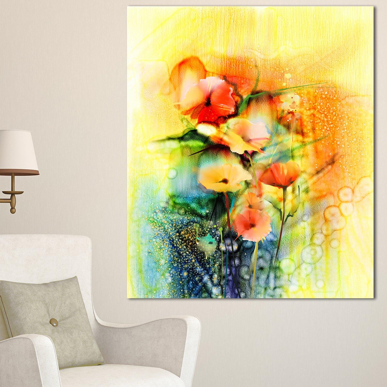 Amazon.com: Designart PT15039-28-60 Colored Watercolor Flowers on ...