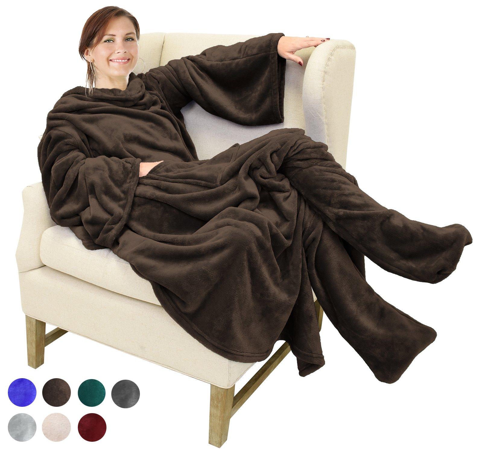 Catalonia Vlies-Decke mit Ärmel- und Fußtaschen, große Wickeldecke zum Überwerfen, für Damen und Herren, 75 x 53 Zoll, Latte
