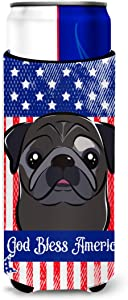 Caroline's Treasures BB2193MUK God Bless American Flag with Black Pug Michelob Ultra beverage Insulator for slim cans, Slim Can, multicolor