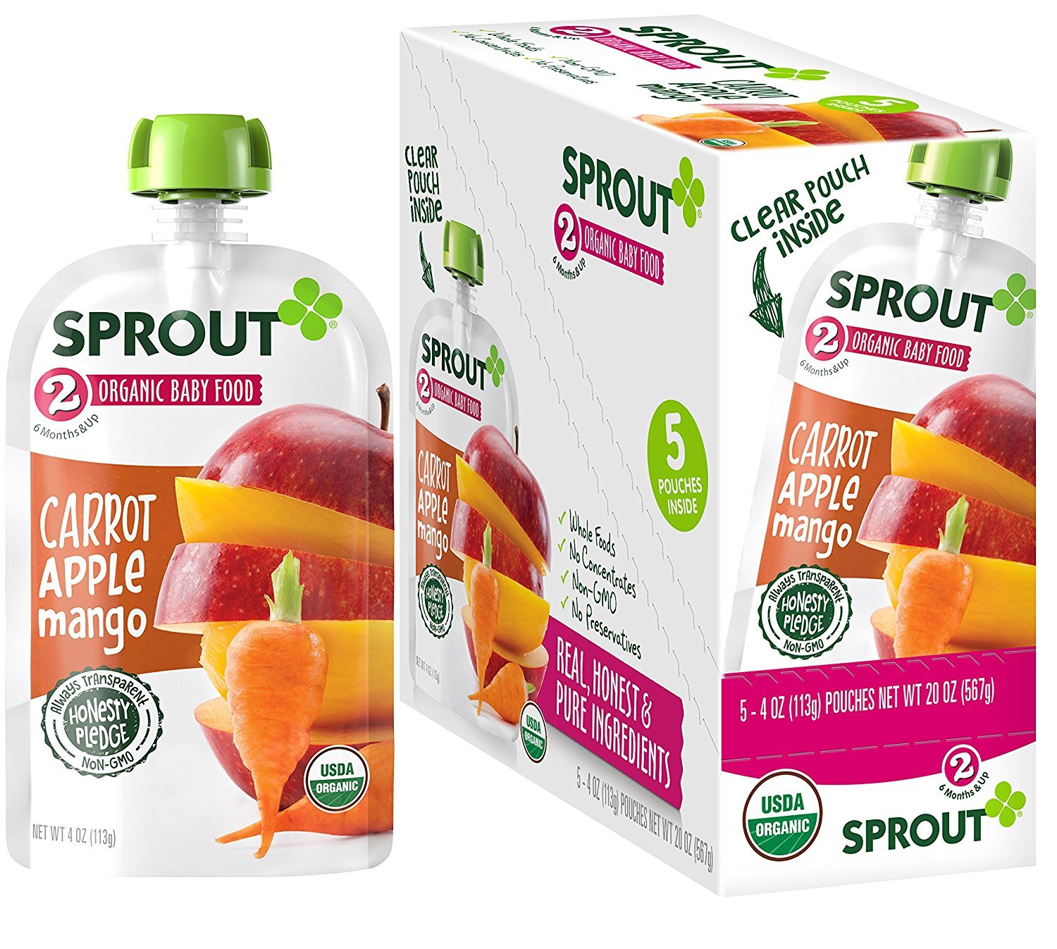 Sprout Organic Baby Food Pouches Stage 2 Sprout Baby Food, Carrot Apple Mango, 4 Ounce (Pack of 5); USDA Organic, Non-GMO, Made with Whole Foods, No Preservatives, Nothing Artificial