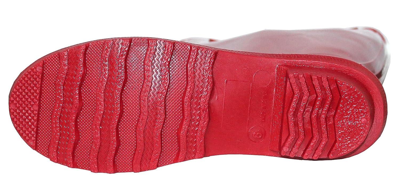 Women's Rubber Waterproof Rain Boots, 15 1/2 Inches B01MXM4B91 6 B(M) US|Red