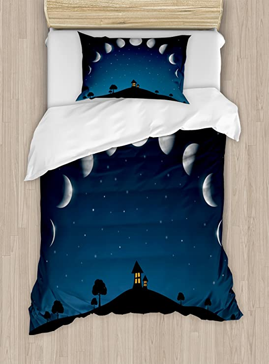 Blue Sand Hot Air Balloons Over The Fields Cartoon Style Woman Riding Bicycle Summer Season Twin Size Decorative 2 Piece Bedding Set with 1 Pillow Sham Lunarable Landscape Duvet Cover Set