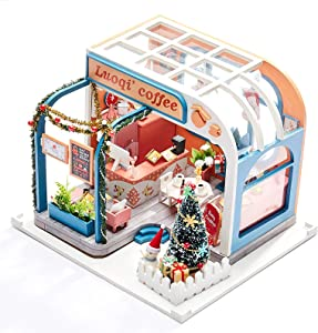 ZOULME DIY Dollhouse Kit with Furniture and Accessories,Miniature DIY House Kit with Real LED Lights Christmas -Luoqi'_Coffee