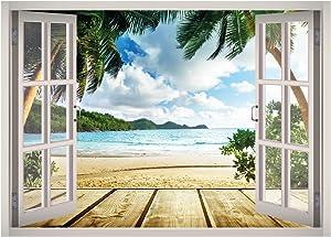 West Mountain Caribbean Beach Tropical View Window 3D Wall Decal Art Removable Wallpaper Mural Sticker Vinyl Home Decor W63 (Small (24''W x 17''H))