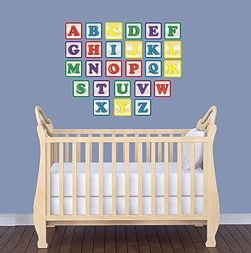 Amazoncom Alphabet Block Wall Decals For Nursery Kids Decals Baby - Nursery wall decals amazon