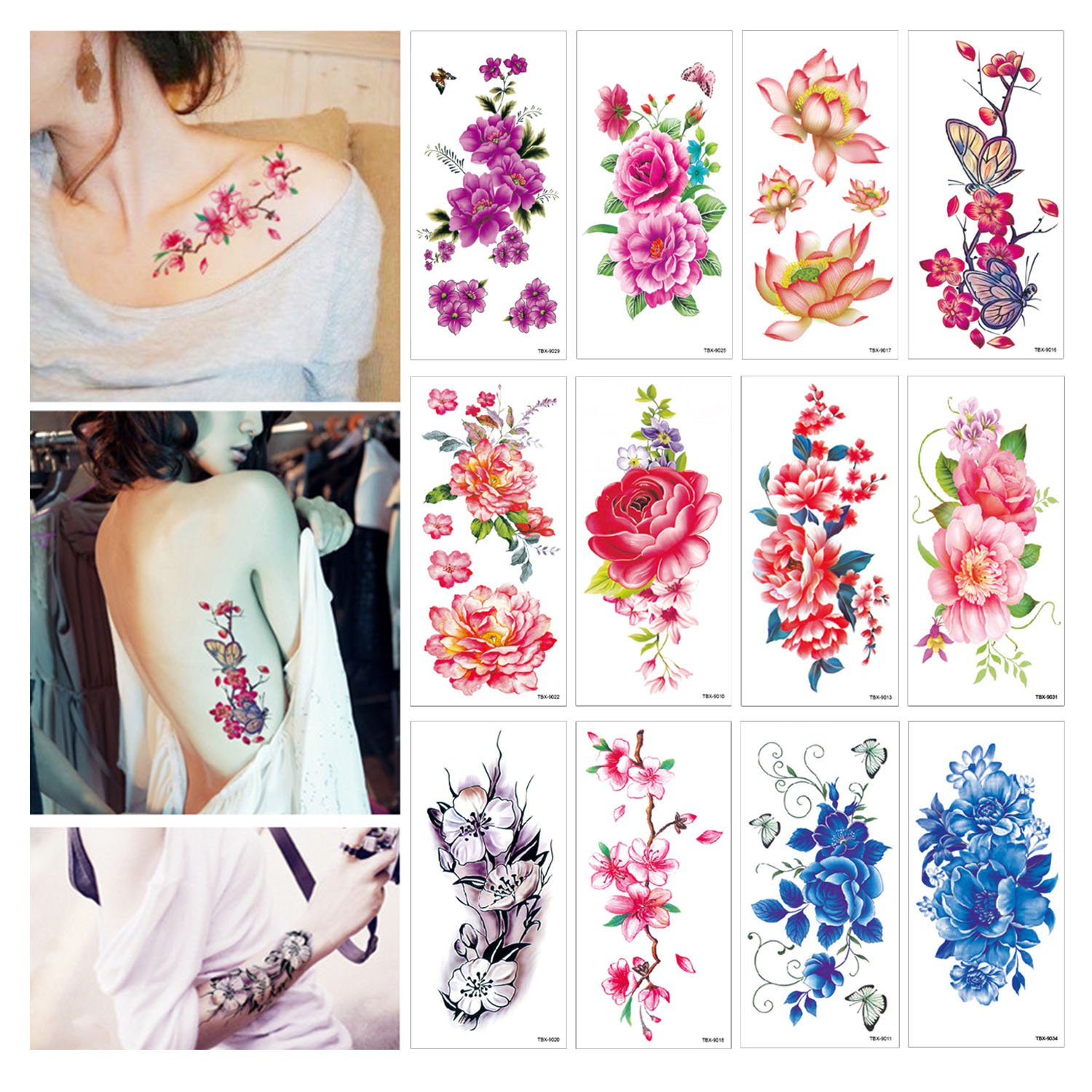 Amazon Flower Temporary Tattoos Stickers Lotus Cherry Blossoms