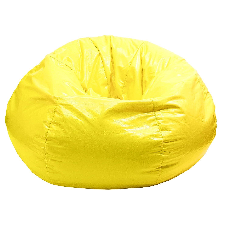 Astonishing Gold Medal Bean Bags 30008409816 Small Wet Look Vinyl Bean Bag For Children Yellow Andrewgaddart Wooden Chair Designs For Living Room Andrewgaddartcom