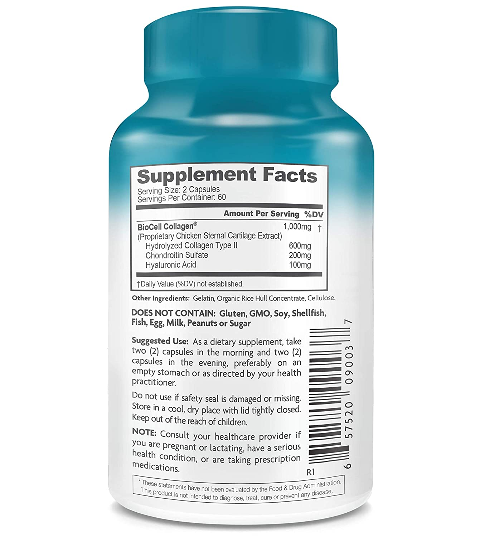Health Logics - Cuidado del empalme y de la piel del colágeno de BioCell - 120 cápsulas: Amazon.es: Salud y cuidado personal