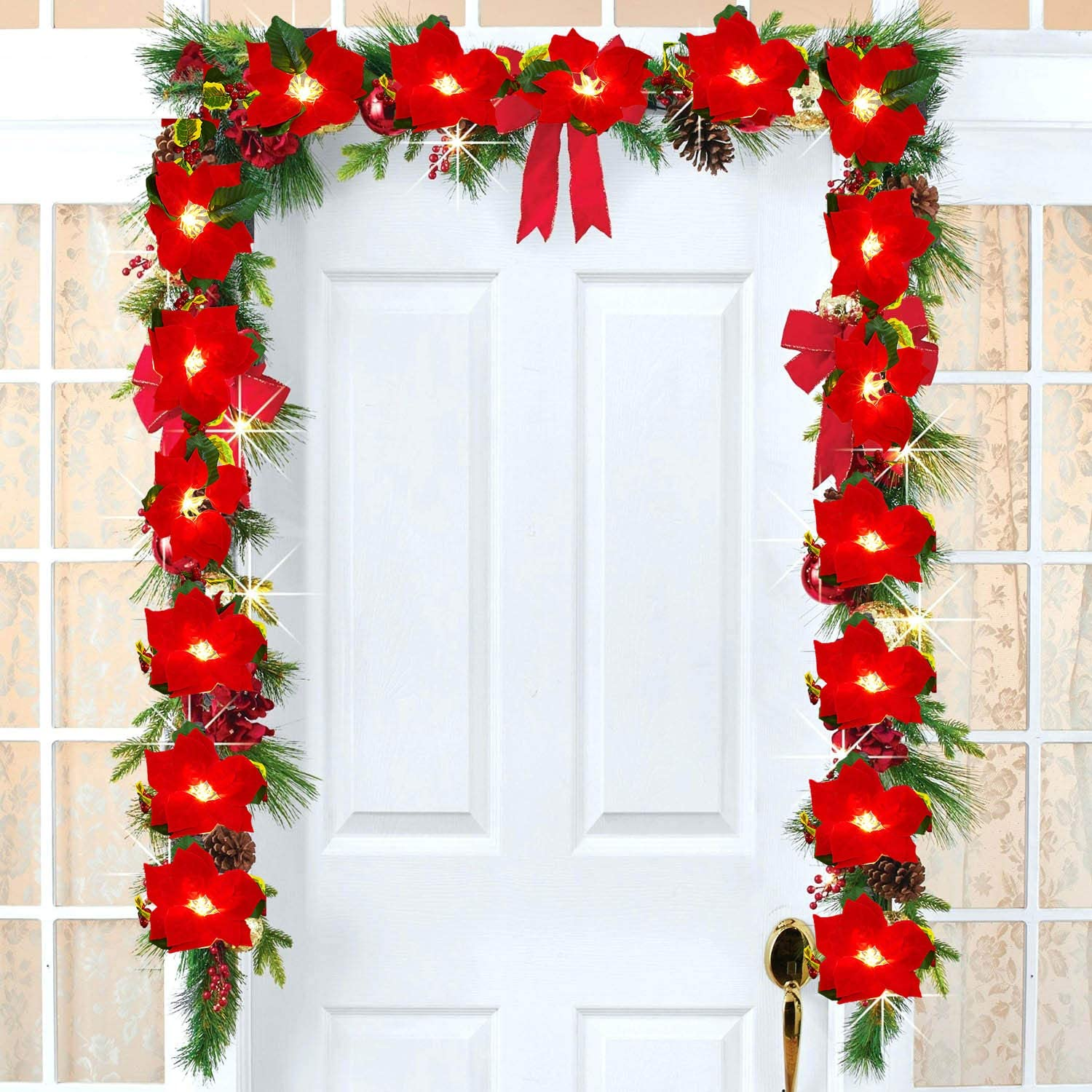 DearHouse 6.5Ft Lighted Poinsettia Christmas Garland with Red Berries and Holly Leaves, Pre-Lit Velvet Artificial Poinsettia Garland for Christmas Decoration, Battery Operated