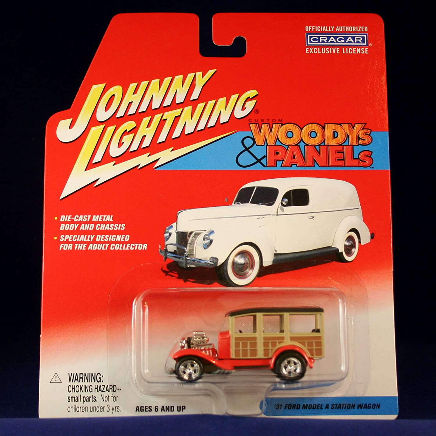 '31 FORD MODEL A STATION WAGON  ROT  Johnny Lightning 2002 CUSTOM WOODYS & PANELS Release 2 1:64 Scale Die Cast Vehicle by Johnny Lightning