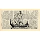 VIKING LONGSHIP ART PRINT - VINTAGE ART PRINT - TRANSPORT Art Print - Illustration - Vintage
