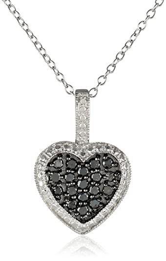 Amazon sterling silver and black diamond heart pendant necklace sterling silver and black diamond heart pendant necklace 12 cttw 18quot aloadofball Images