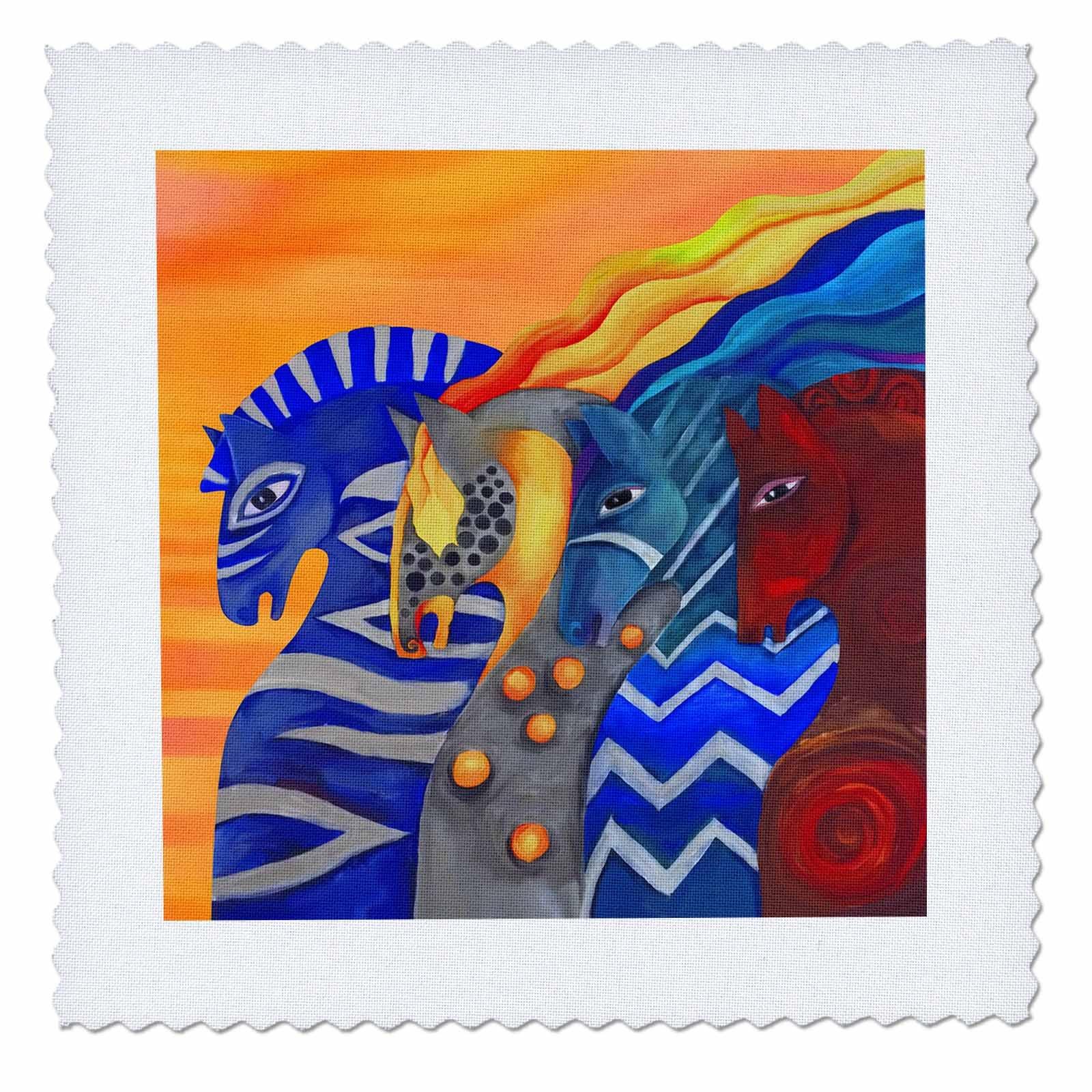 3dRose Dasistleyli - Animals - Impressionistic drawing of four horses denoting four elements - 22x22 inch quilt square (qs_280175_9)