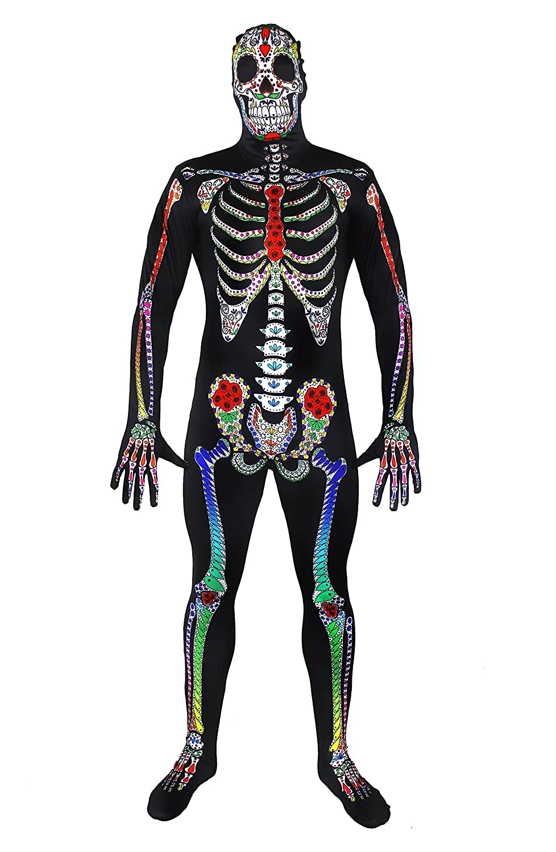 Sugar Skull Skeleton Skin Suit Halloween Fancy Dress Costume