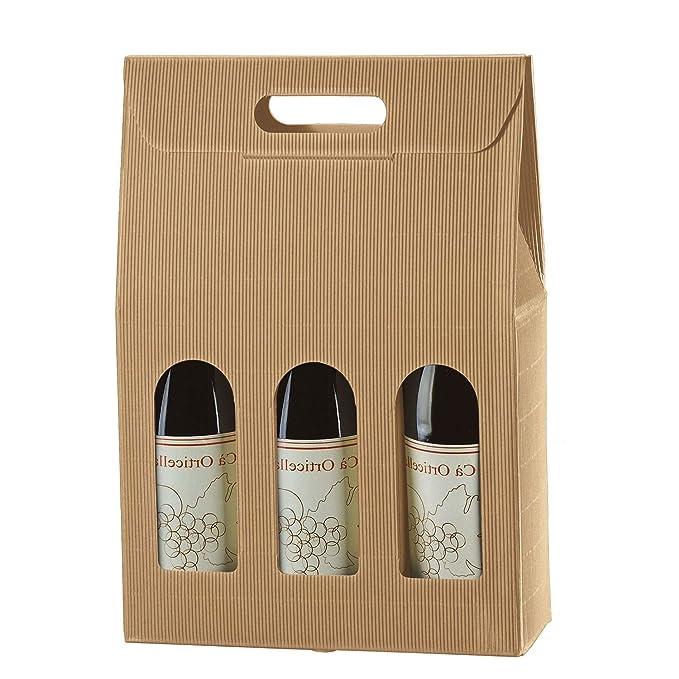 Caja porta botella (3 botellas) de cartón ondulado, 20 ...