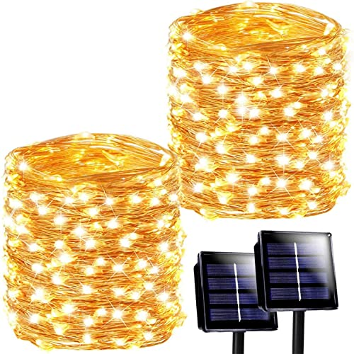 SANJICHA Solar String Lights Outdoor, 2-Pack Each 72FT 200LED Upgraded Super Bright Solar Lights Outdoor, Waterproof Copper Wire 8 Modes Fairy Lights for Garden Patio Party Decorations Warm White