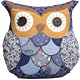 Sass & Belle Applique Owl Cushion - Marion Blue & Brown (With Inner)