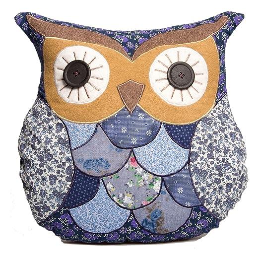 Sass & Belle - Cojín, forma de búho, color azul y marrón ...
