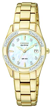 CITIZEN ECO-DRIVE Women s EW1822-52D Regent Gold-Tone Diamond-Accented Watch 2213951546
