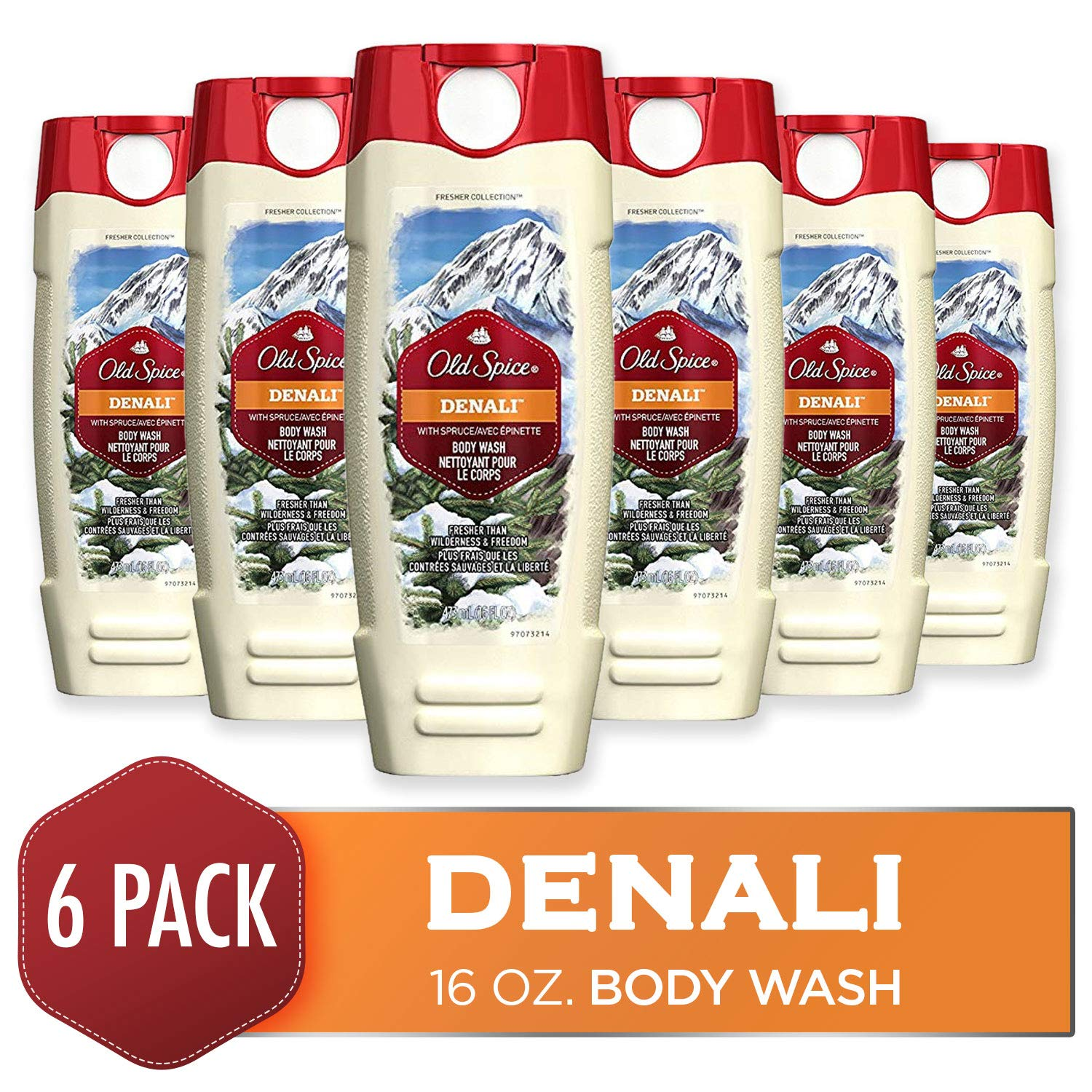 Body Wash for Men by Old Spice, Fresher Collection Men's Body Wash, Denali, 16 Fluid Ounce (Pack of 6)